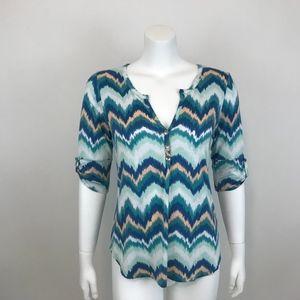 Pixley Stitch Fix Blue Chevron Print Knit Top S